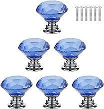 XIZONLIN 6 Stuks Kristallen Ladeknoppen Blauw Diamanten Kristalglas Handvat voor Kastdeur Kastdecoratie Thuis Slaapkamer K...