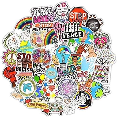 DINGQING Paquete Retro Hippie Dibujos Animados Paz Amor Pegatinas para niños portátil Guitarra Tabla de Surf monopatín Equipaje Pegatina para álbum de Recortes 50 Uds