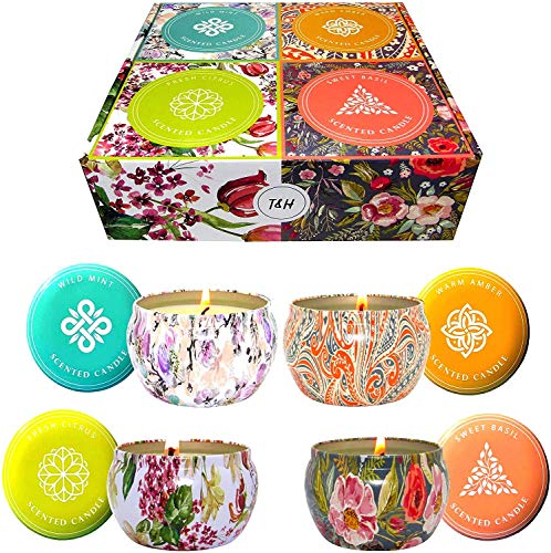Aromatherapy Stress Relief Candles Long Burning-Fresh Citrus, Warm Amber, Wild Mint, Sweet Basil-Portable Travel Candle Soy Wax Essential Oils 6 Oz Nature Scented Candle Set 140 Hour Burn (Set of 4)