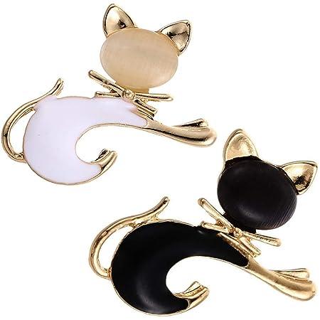NALCY Broche Elegante, Broches para Mujer, 2 Broche de aleación con Forma de Gato para Ropa Broche para Solapa, Accesorios de joyería para Regalo de corsé Animales Ramillete joyería para Mujeres