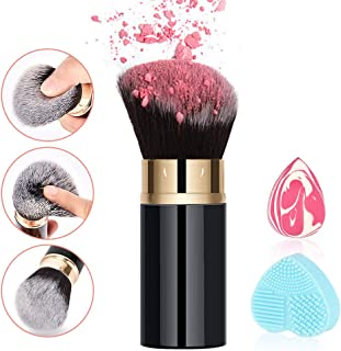RoNeauty Retractable Kabuki Foundation Brush Flat Angled Face 3D Retractable Makeup Brush for Liquid Powder BB Cream with Makeup Sponge and Silicone Brushes Cleaner