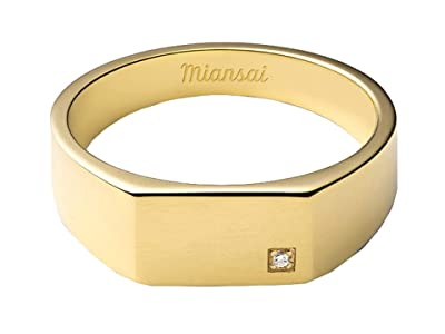 Miansai Geo Signet Ring with Diamond (Polished Gold/Pave) Ring