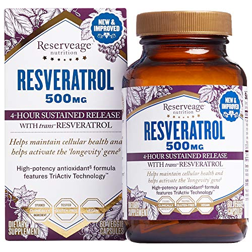 Reserveage, Resveratrol 500 mg, Antioxidant Supplement for Heart and Cellular Health, Supports Healthy Aging, Paleo, Keto, 60 capsules (60 servings)