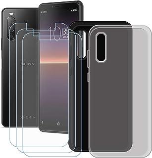 YZKJ [2 stycken skal för Sony Xperia 1 II skydd svart + grå mjuk silikon skyddande skal TPU skal skal skal skal 3 x pansar...