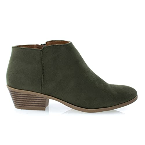 11419291a2d6 J. Adams Mug Light Olive Suede Women s Western Ankle Bootie w Low Chunky  Block Stacked