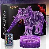 3D LED noche l谩mpara elefante D ni帽os noche luz cumplea帽os vacaciones Halloween regalo...