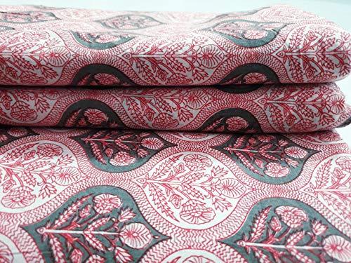 Tela de algodón estampada en bloque Tela india impresa a mano, tela de algodón suave de The Yard Fabric, tela estampada Jaipuri Kurti para el vestido de verano (10 yards)