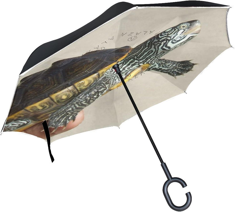 Animal Turtle RedEared Slider Adorable Animated Little Real Pet Mix Ingreened Umbrella Large Double Layer Outdoor Rain Sun Car Reversible Umbrella