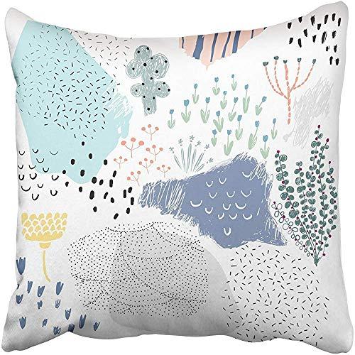 Doble Cojines Fundas 18' Encabezado de plad gráfico de Moda Floral artístico Universal Cre Funda de Almohada Suave para la Piel