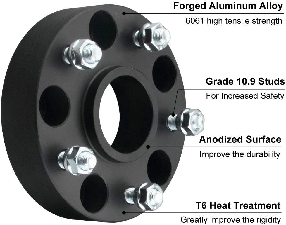 4pc 1.5 Wheel Spacer with 14x1.5 Studs for 2019-2020 Wrangler JL JLU 2019-2020 Gladiator 2011-2020 Grand Cherokee DCVAMOUS 5x5 Hubcentric Wheel Spacers Compatible with Jeep Wrangler