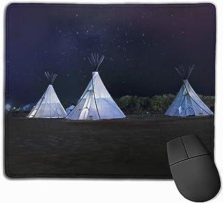 Tre vita tipi-tält halkskydd unika mönster spelmusmatta svart tyg rektangel musmatta konst naturlig gummi musmatta med syd...