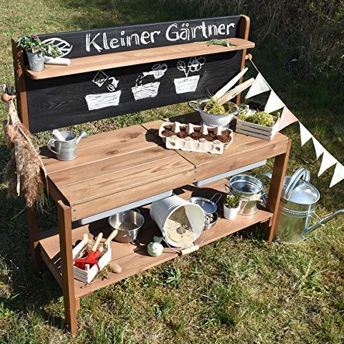 Meppi Matschküche Kleiner Gärtner, braun aus Holz, Outdoor-Küche - 7