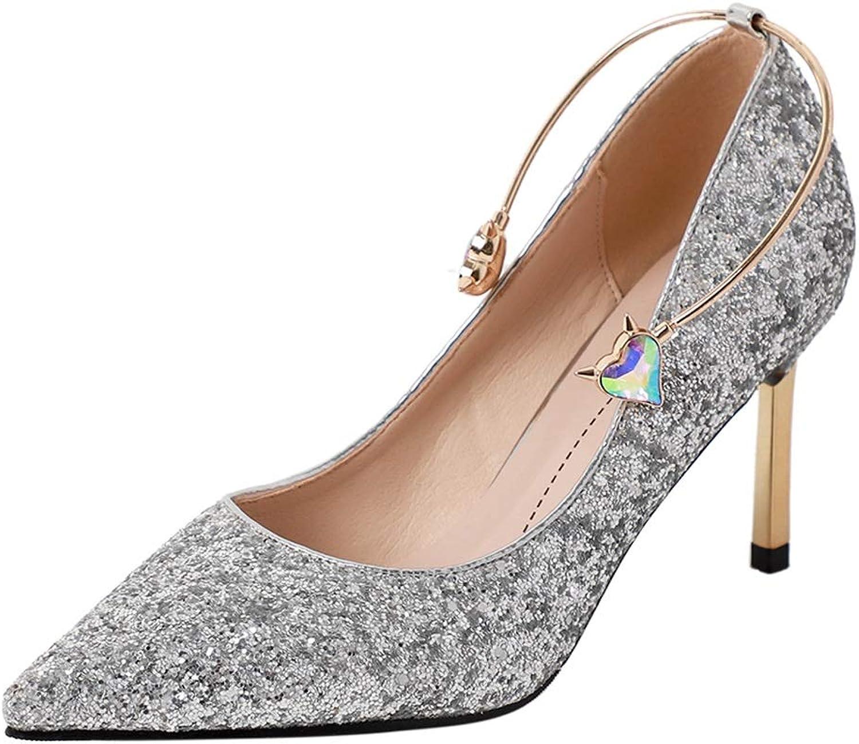 Sljj Frauen Gold Sexy High Heels, Silber Stiletto Pumps Für Frauen Spitz Party Abendkleid Prom Hochzeit Schuhe (Farbe   Gold 7cm Heel, Größe   38 EU)