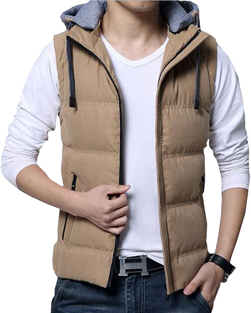 Only Faith Men's Sleeveless Zipper Hooded Waistcoat Vest Jacket