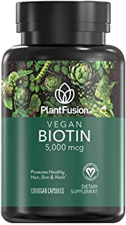 PlantFusion Biotin 5,000 mcg Vegan Vitamin | Supports Health Hair, Skin & Nails | Vegan Certified, Plant Based, Gluten and...