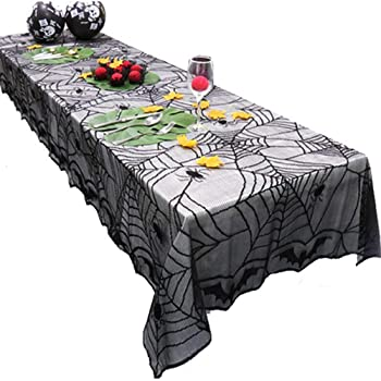 Spooky Lace Table Cloth Skulls Roses spider web Black Lace Halloween Tablecloth