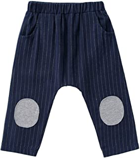 Xifamniy Infant Unisex Babies Spring&Autumn Pants Cotton Striped Elastic Waist Trousers