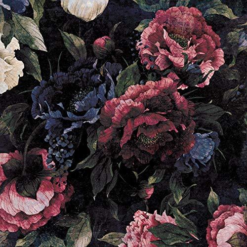 Forwall Fototapete Vlies Tapete Wanddeko Blumen Pfingstrose - Retro Vintage Rosa Moderne Wanddekoration 13534VEXXXL 416cm x 254cm Schlafzimmer Wohnzimmer
