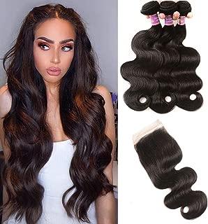YueShiYin 10A Brazilian Virgin Body Wave 3 Bundles with Closure 100% Unprocessed Brazilian Body Wave Human Hair with Free Part Lace Closure Brazilian Body Wave (16 18 20+14)