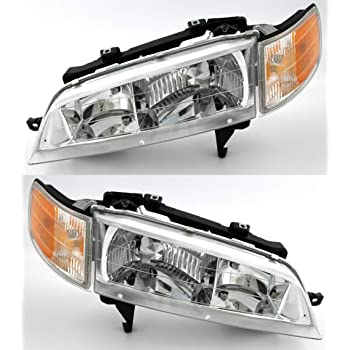 Amazon Com Headlightsdepot Chrome Housing Halogen Headlights Compatible With Honda Accord 1994 1997 Includes Left Driver And Right Passenger Side Headlamps Automotive