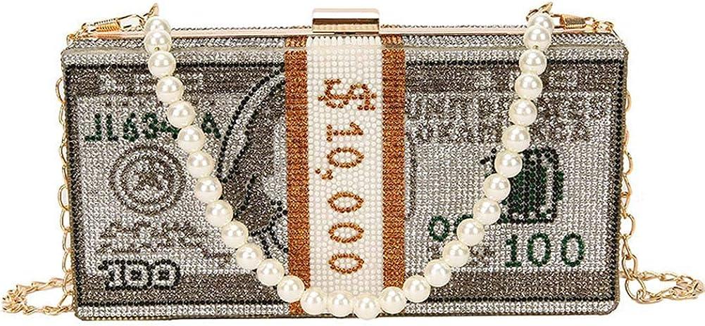 Womens Money Bag Purse Luxury Dollar Cash Crystal Diamond Evening Bags Clutch Party Wedding Dinner Handbag