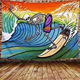 DBLLF Hippie Skull Tapestry Funny Skeleton Surfing in Hawaii Wall Tapestry, Large 80'x 60' Flannel Art Tapestries Great Wave Hip Hop Art Painting Backdrop, for Home Decor GTLHDB238