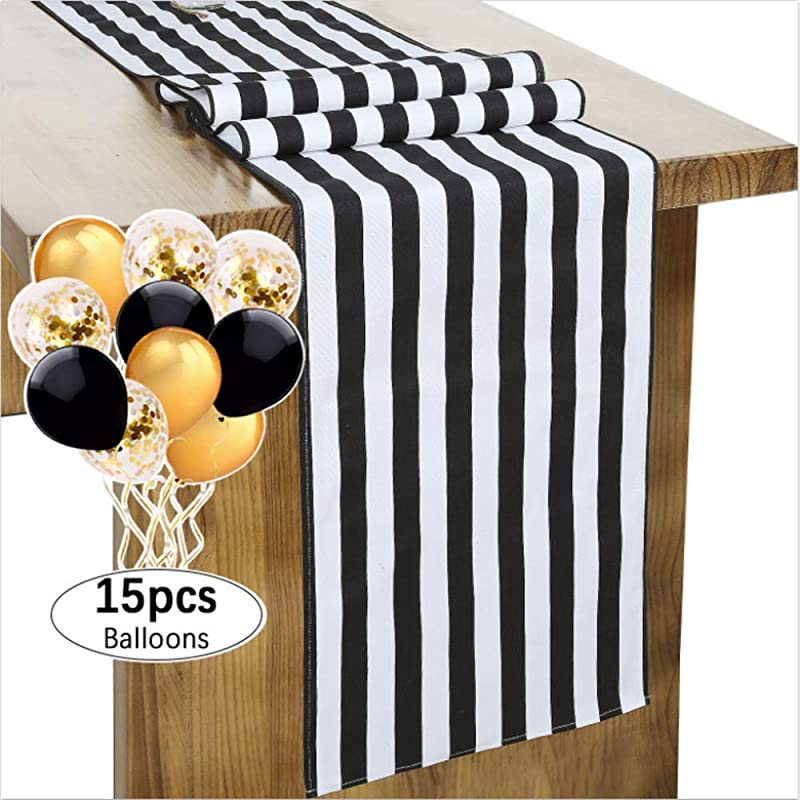 SoarDream Classic Striped Table Runner 13 X108 Inches Black And White Table Runner For Wedding Dinner Parties And Everyday Use