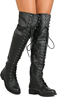 cb36062cd47 Nature Breeze FG08 Women Leatherette Over The Knee Lace Up Combat Boot -  Black