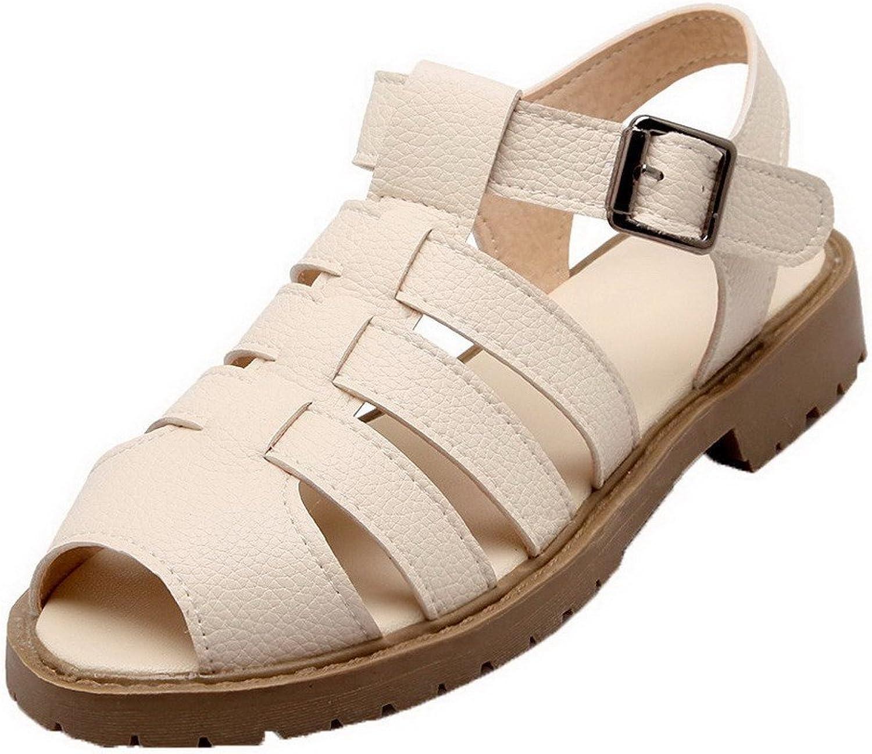 WeenFashion Women's Solid Pu Low-Heels Peep Toe Buckle Sandals
