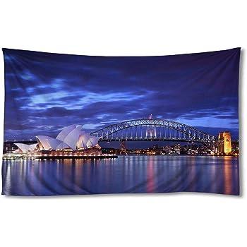 Amazon Com Egotou Australia Sydney Opera House Night Bridge Wall Tapestry Home Decor Art Wall Hanging Tapestries 30x45 Inch Home Kitchen