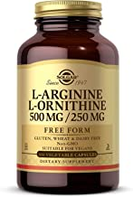 Solgar L-Arginine/L-Ornithine 500/250 mg, 100 Vegetable Capsules - Supports Blood Flow - Supports Creatine Synthesis & Pro...