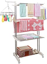 TYUIO Foldable 3 Tier Clothes Drying Rack Rolling Collapsible Laundry Dryer Hanger Stand Rail Indoor Outdoor White
