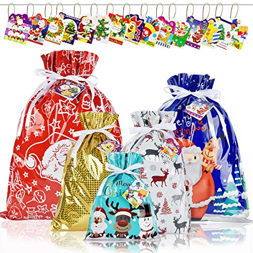 15PCS Christmas Drawstring Gift Bags with Tags YOUYOUTE 6 Different Designs Christmas Wrapping Bags 4 Sizes X-Large,Large,Medium and Small Holiday Goody Present Party Bags for Xmas (15)