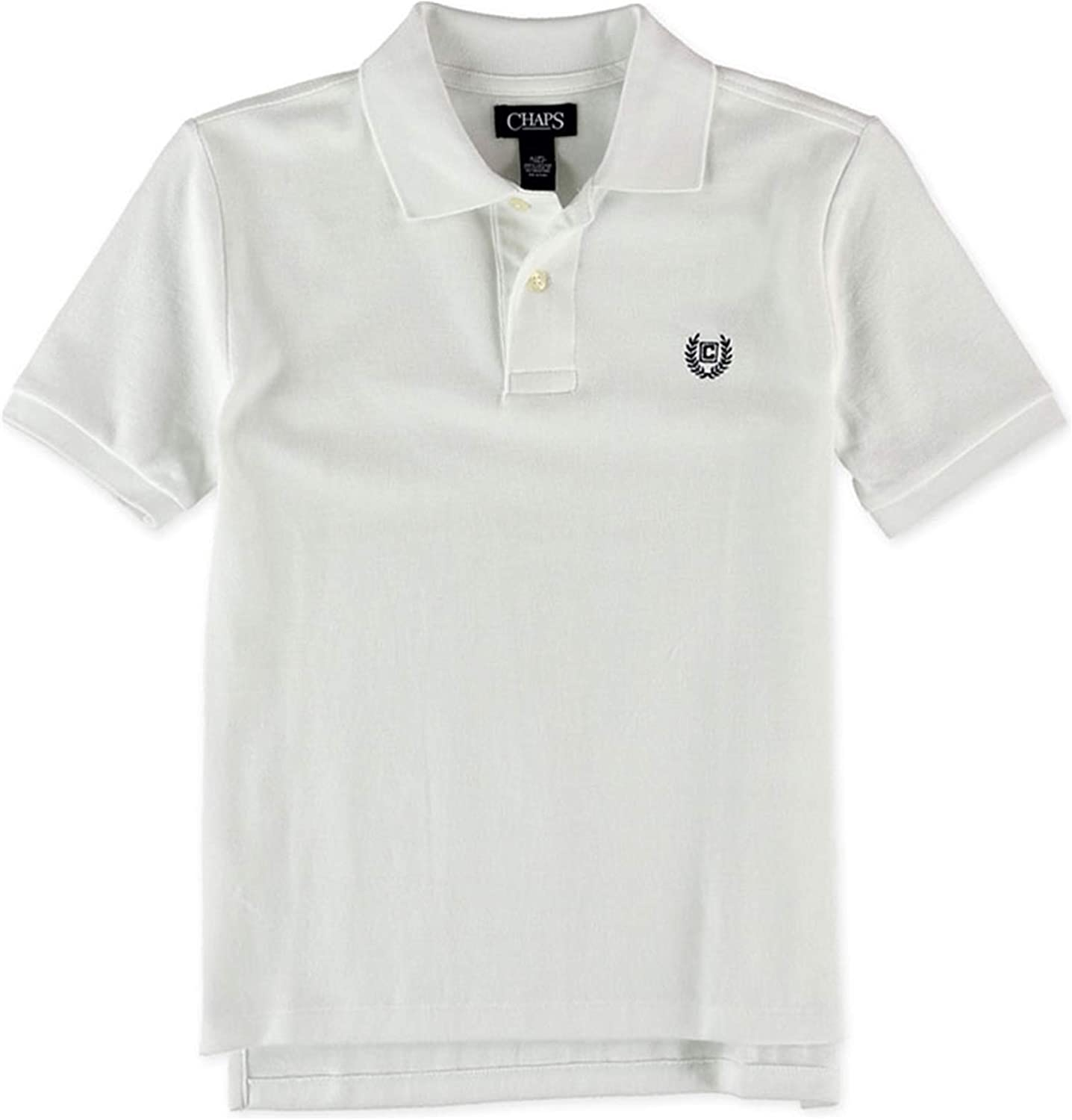 Chaps Boys Solid Rugby Polo Shirt, White, S (8)
