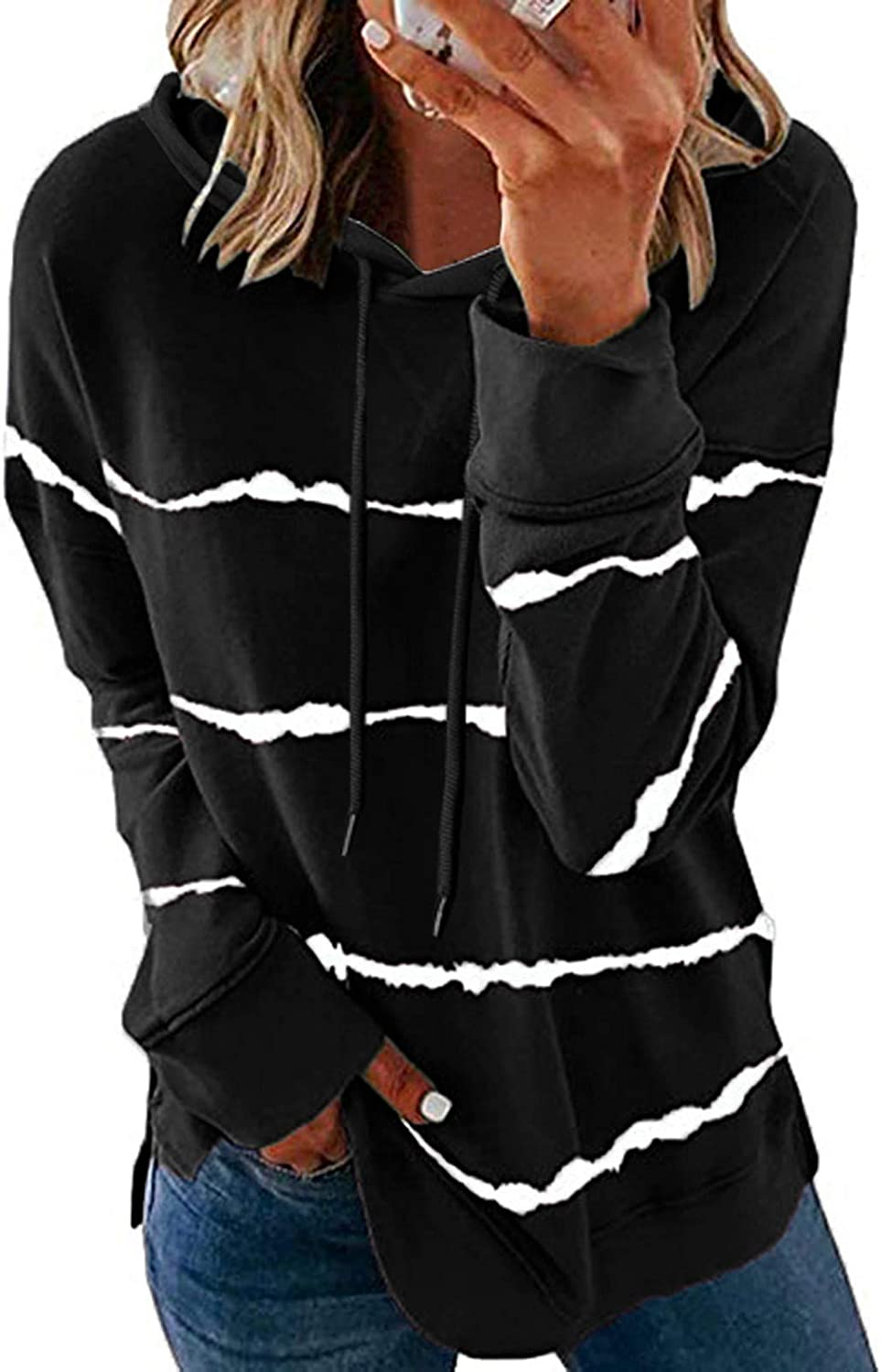 Hoodies for Women Pullover,Womens Striped Printed Sweatshirts Long Sleeved Causal O Neck Blouses Drawstring Causal Tops