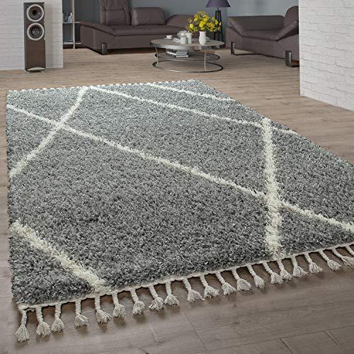Paco Home Shaggy Teppich Wohnzimmer Hochflor Rauten Muster Skandi Design, Grösse:140x200 cm, Farbe:Grau