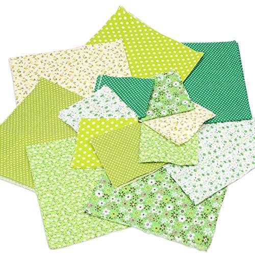 LOPOTIN 14pcs Tela Retazos Verde 50 x 50cm Tela Retal Cuadrados Algodón Acolchado Patchwork Floral Patrón de Puntos Irregulares Impreso Manualidades Costura Ropa Muñeca Decoración Pequeña Primavera
