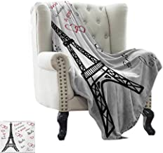 LsWOW Cold Blanket Eiffel Tower,Eiffel Paris is Always a Good Idea Tourism Locations Love Valentines,Red Black White Reversible Soft Fabric for Couch Sofa Easy Care 60