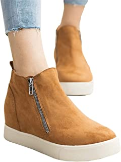 Nailyhome Womens Platform Sneakers Hidden Wedges Slip On High Top Side Zipper Ankle Boots Sporty Walking Shoes