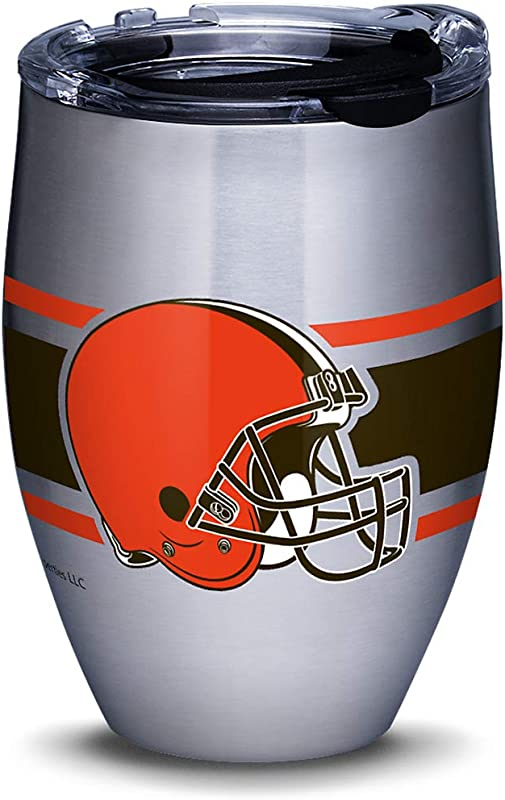 Tervis 1317629 NFL Cleveland Browns Stripes Insulated Travel Tumbler With Lid 12oz Stainless Steel Silver