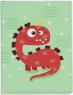 ZGMYC Cartoon Dinosaur Passport Holder PU Leather Travel Passport Cover Card Case Wallet for Kids Boys