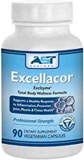 Excellacor – Proteolytic Systemic Enzymes Formula – with Enteric-Coated Serrapeptase - Total Body Support - 90 Vegetarian ...