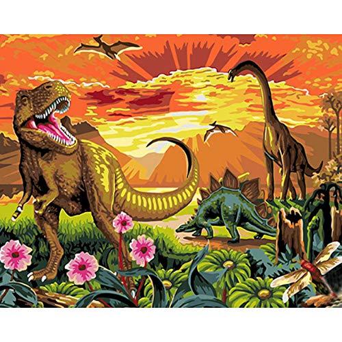 Pintar por Numeros para Jurassic Park Dinosaur Adultos Niños Pintura por Números con Pinceles y Pinturas Decoraciones para el Hogar 45 x 50 cm Sin marco