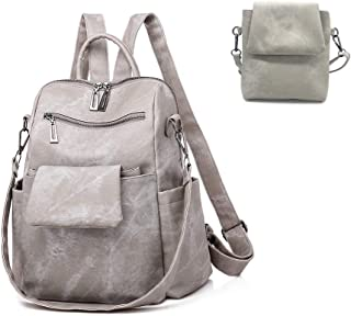 Women Backpack Purse PU Soft Leather Retro Casual Ladies Rucksack Detachable Crossbody Shoulder Bag