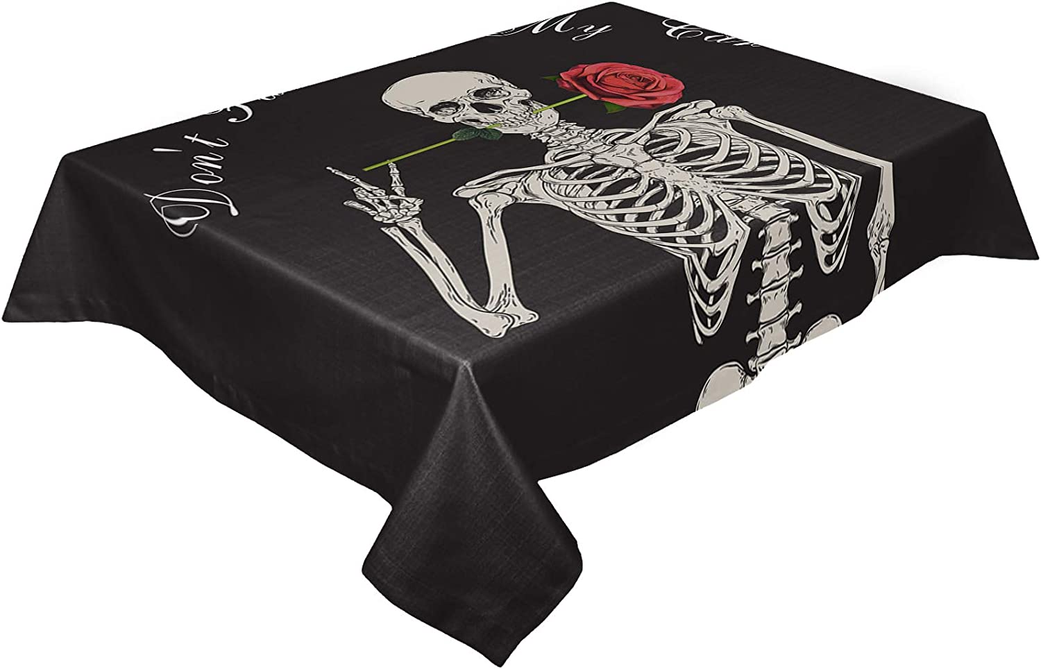 HELLOWINK Rectangle 直送商品 Table Cloths Skeleton Skull ストア 54x87inch Funny