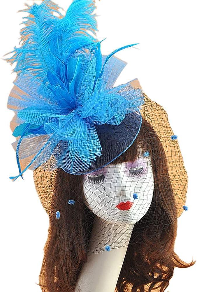 Ealafee Women's Feather Fascinator Hats Tea Party Wedding Headpiece Cocktail Hat