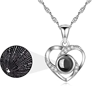 ASELFAD 925 Sterling Silver I Love You Necklace 100 Languages Heart Necklaces for Women Birthday Gifts for Her