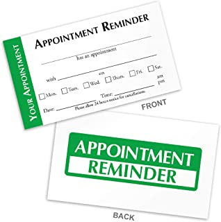 Appointment Reminder Cards for Doctors, Hair Salons, Nail Salons, Pet Groomers, Spa�s, Automotive (Green, Box of 250)