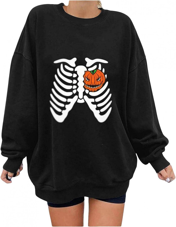 Womens Long Sleeve Tops V Neck,Women Long Sleeve Halloween Sweatshirt Pumpkin Skeleton Printed Crewneck Pullover Tops Fall Tees Tops Tunic Blouses Shirts