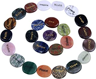 TGS Gems Natural Engraved Inspirational Stones(25 Different Words)